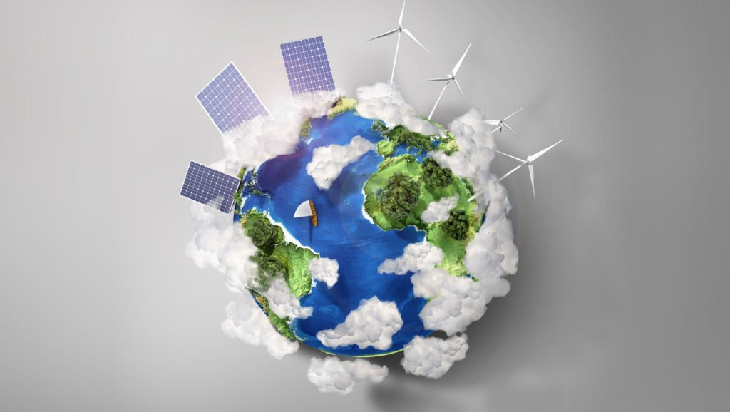 Globe and Solar Panels on It